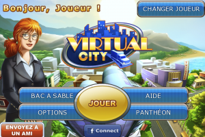 Ecran d'accueil de Virtual City sur iPhone