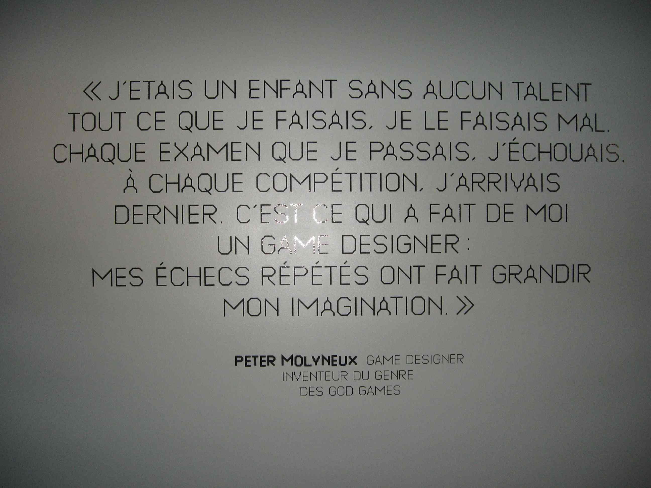 Phrase d'un Game Designer au Museo Games