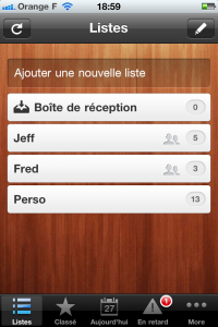 Wunderlist sur iPhone