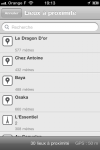 Ecran de Check in dans l'application iPhone Foursquare