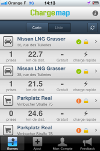 Liste des stations dans l'application iPhone ChargeMap