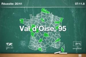 Screenshot du quizz sur les départements français