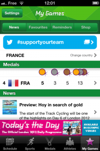 Selection de son pays préféré dans l'application London 2012