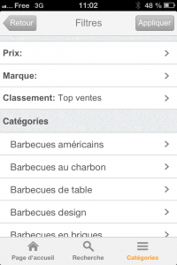 Image des filtres de l'application iPhone ShopALike