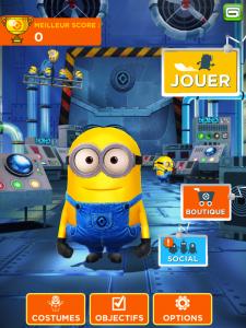 Image du choix du Minion dans le jeu Minion Rush sur iPad