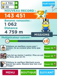 Image du score dans le jeu Minion Rush sur iPad