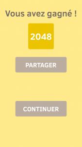 Image de victoire au jeu 2048 sur iPhone