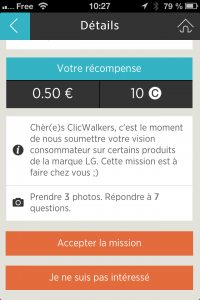 Image d'une mission dans l'application iPhone Click and Walk