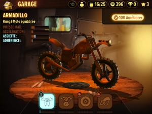 Image du garage à moto dans le jeu Trials Frontier sur iPad