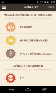 Capture d'écran des médailles dans l'application unlock your brain