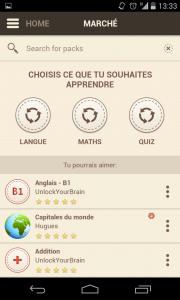 Capture d'écran du choix des packs d'extension dans l'application unlock your brain