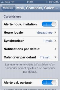 Capture d'écran de la page de réglage d'un iPhone