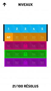 Sélection d'un niveau du jeu iPhone Kucuby